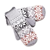 YAN & LEI Women's Knitted Snowflake Mittens Gloves with Elastic Cuffs for Winter Color Grey