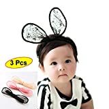 Smartown 3 Pcs Rabbit Ears Lace Elastic Bow–Stretch Headbands for Baby Toddler Girls - Cute Bunny Ear Hairbands for Newborn - Toddler and Childrens - Great Christmas New Year Gift for Baby (3 Colors)