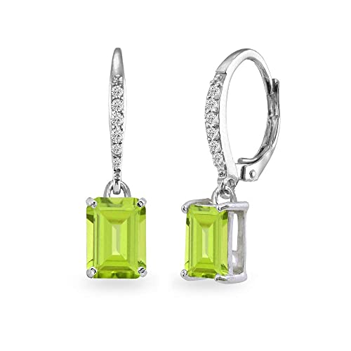 Sterling Silver Genuine, Simulated or Created Gemstone 8x6mm Octagon-cut Polished Dangle Leverback Earrings