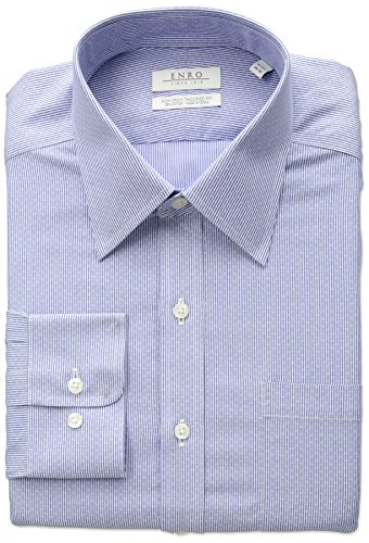 Enro Men's Tailored Fit Non-Iron Cotton Dobby Stripe Dress Shirt, Blue, 16