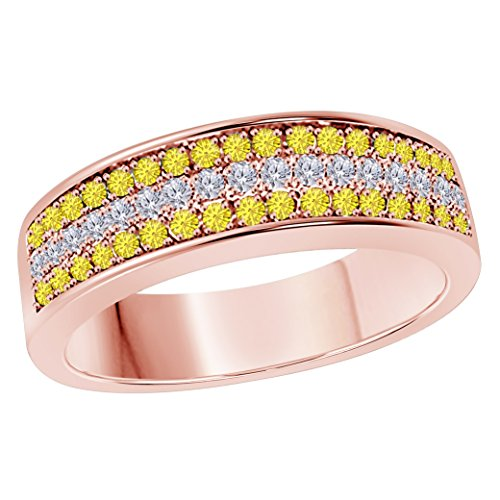 6MM 14K Rose Gold Finish .925 Silver Plated 0.50CT Yellow Sapphire & White Cz Diamond Ring 3 Row Pave Half Eternity Men's Wedding Band Ring Size All Available by Star Retail