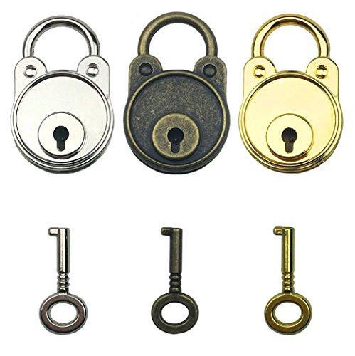 Mini Key Colour (Hyamass 3pcs Mix Color Vintage Antique Style Mini Archaize Padlocks Key Lock with Keys)