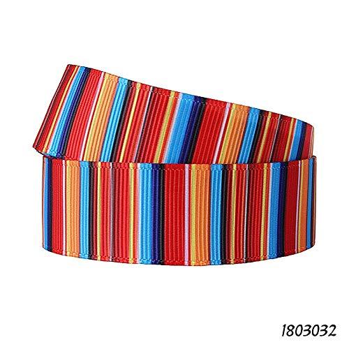 Ribbon - Ribbon 38MM 75MM Mexican Blanket Rainbow Stripe Print Ribbon