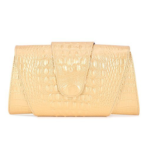 Kattee Women's Crocodile Embossed Real Leather Clutch Shoulder Handbag (Gold Embossed Handbag)