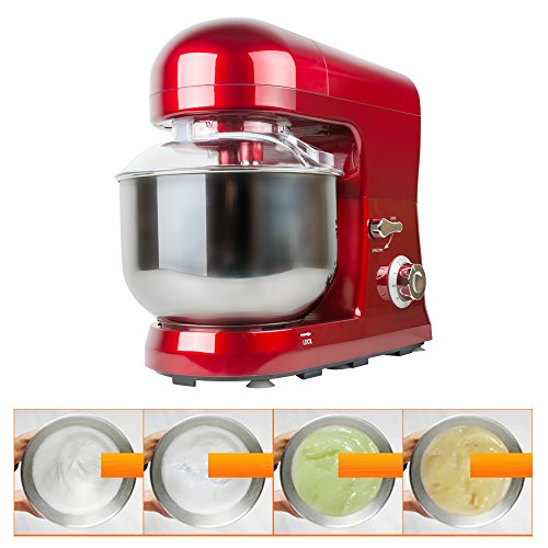 Finlon Electric Stand Mixers with 5L Stainless Steel Food mixing bowl Tilt-Head Stand Mixer Dough/egg mixing Electric kitchen Mixer with Double Dough Hooks/Whisk/Beater/Pouring Shield (red)