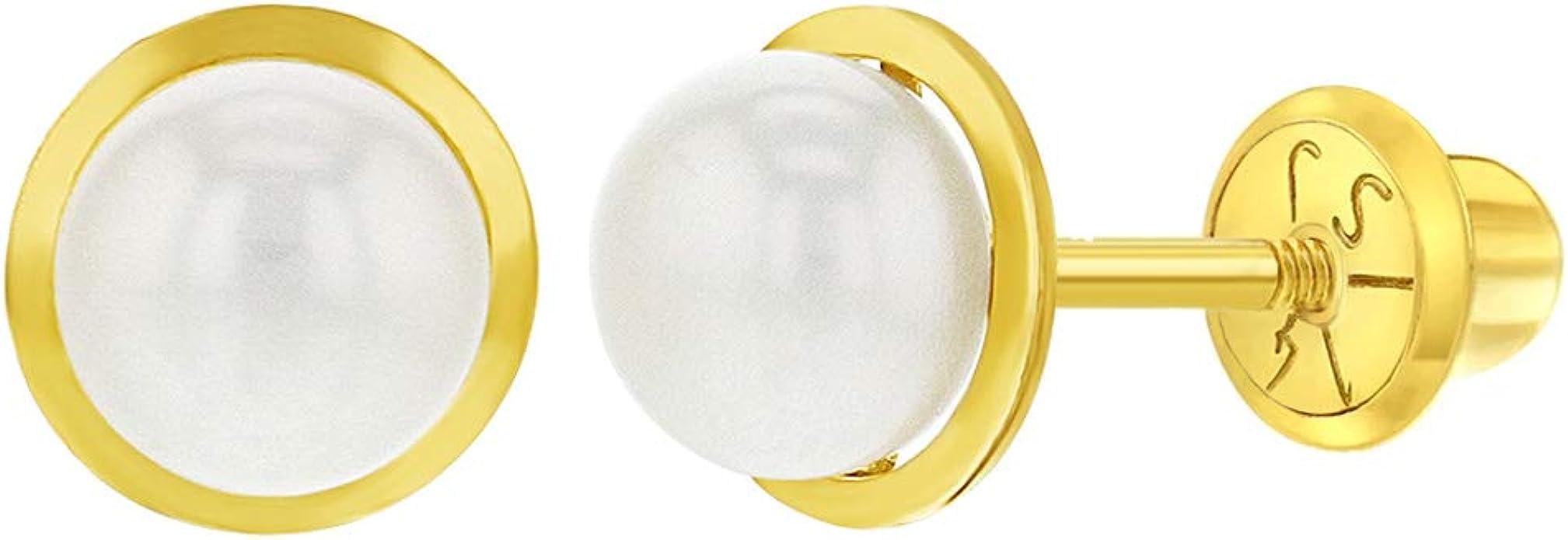 14K Screw Earring Set Gold Screw Earrings 14K Yellow Gold 6mm Round Screw Design Stud Earrings 6mm Screw Studs Gold Screw Studs