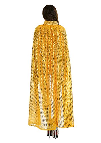 BXT Adult Women Long Maxi Paillette Cosplay Cape Halloween Xmas Party Sequins Cloak