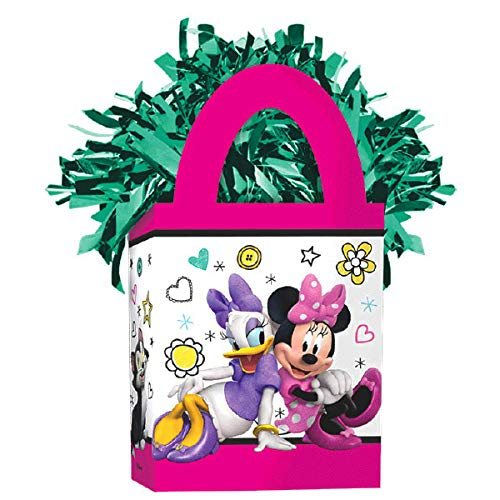 (Girls Disney Minnie Mouse Mini Tote Party Balloon Weight, 1 Pieces, Made from Cardstock, Minnie Mouse theme party, 5.7oz by Amscan)