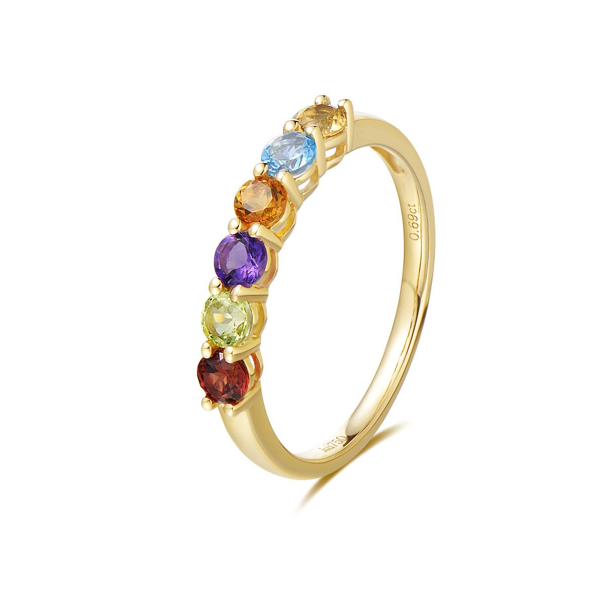 FANCIME 14k Solid Yellow Gold Multicolor Gemstone 0.874cttw Peridot/Blue Topaz/Amethyst/Garnet/Citrine Wedding Engagement Band Ring For Women Girls by FANCIME