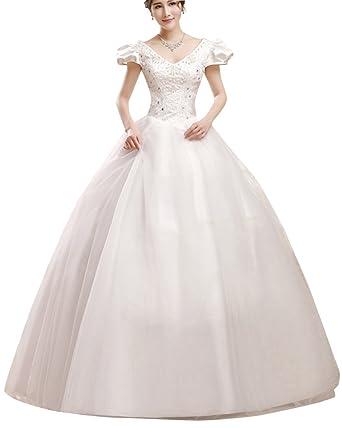 Elegant V Ausschnitt Spitze Hochzeitskleider Brautmode Damen
