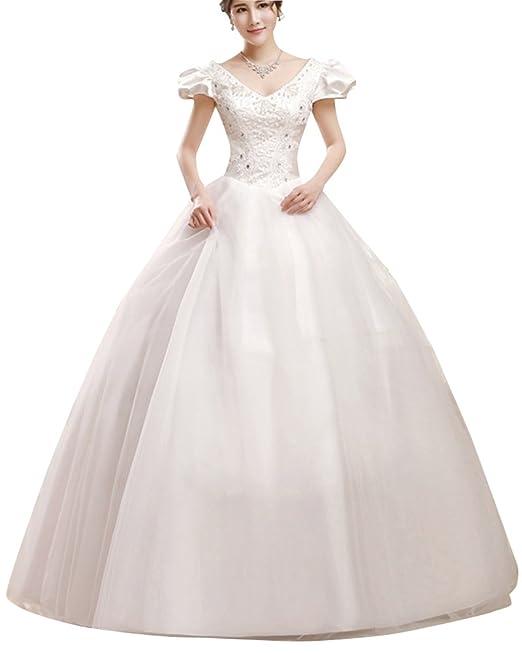 ShiFan Mujer Vestido Encaje De Fiesta Largos Vestidos Elegantes De Noche Ceremonia Novia Beige L