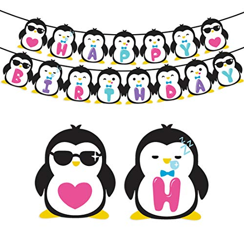KREATWOW Penguin Birthday Party Supplies - Penguin Happy Birthday Banner for Kids Party Decorations