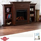 Electric Freestanding Fireplace Wall Livingroom Storage Classic Design Media Open Storage Shelves Indoor Heater...