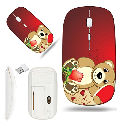 Bruins Heart - Luxlady Wireless Mouse White Base Travel 2.4G Wireless Mice with USB Receiver, 1000 DPI for notebook, pc, laptop, computer, mac design IMAGE ID 4137360 Bruin with a heart Background for card to the Va