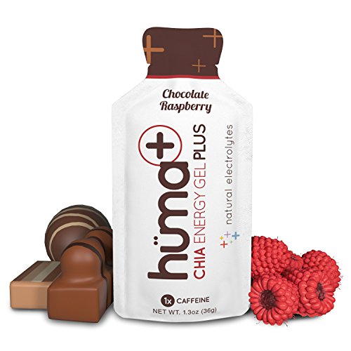 Huma Plus – Chia Energy Gel, Chocolate Raspberry, 12 Gels, 1x Caffeine – Natural Electrolyte Enhanced Energy Gel