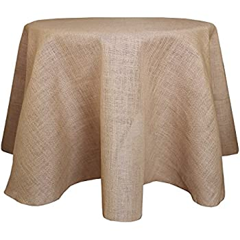 Ultimate Textile Burlap 60 Inch Round Jute Tablecloth Natural
