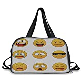 iPrint Travel handbag,Emoji,Happy Smiley Angry Furious Sad Face Expressions with Glasses Moods Cartoon Like Print,Yellow ,Personalized