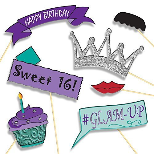 Birthday-Girl-Photo-Booth-Props-Party-Supplies-DIY-Kit-Banners-Signs-Hats-Mustaches-and-More-Baby-Girls-First-Birthday-or-Sweet-16-Decorations-20-pcs-for-Multiple-Booths