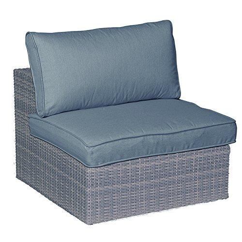 Garden Impressions Lounge Set mittelelement, Erweiterung für Sitzgruppe JAMAIKA - Hochwertiges Poly Rattan Geflecht, Extra dicker Kissen in der Farbe: Sand, shadow grau, 85.5x90.5x65 cm, 06402SO