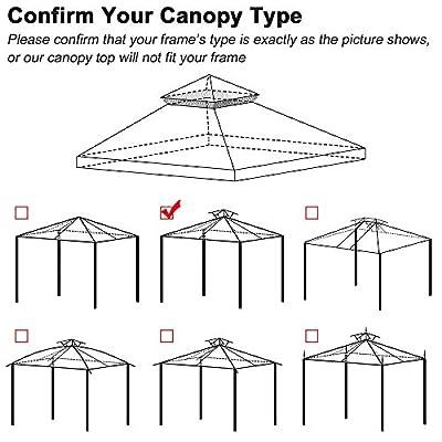Yescom 10'x10' Gazebo Top Replacement for 2 Tier Outdoor Canopy Cover Patio Garden Yard Coffee Liqueur Y00210T10 : Garden & Outdoor
