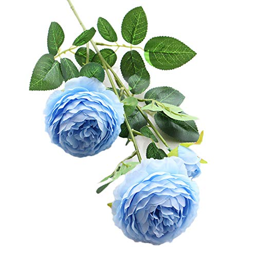 (Artfen 5 Pack 3 Heads Artificial Silk European Rose Flower Peony Flower Long Stem Fake Plastic Flowers Home Garden Party Wedding Decoration DIY Wreath Approx 26'' High Blue)