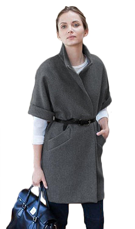 Halife Women's Half Sleeve Thick Wool Trench Coat Cocoon Coat Peacoat Jacket