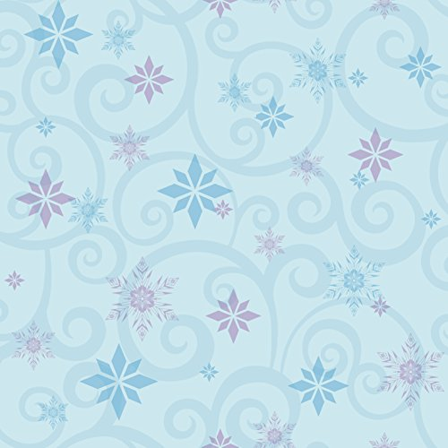 Blue Scroll Wallpaper - York Wallcoverings Kids III Disney Frozen Snowflake Scroll Removable Wallpaper, Blues