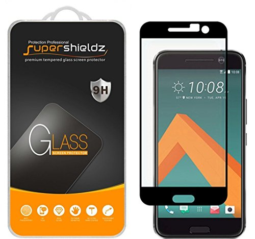 514lS2J0KgL Supershieldz for HTC 10 Tempered Glass Screen Protector, [Full Screen Coverage] Anti-Scratch, Bubble Free, Lifetime Replacement Warranty  (Black).