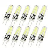 Pocketman 10 Pack 3W G4 LED Filament Bulb,Bi-pin Base 2xFilament COB dimmable LED Lamps dimmable,Equivalent to 20W Halogen Bulb,AC/DC 12V, Cool White