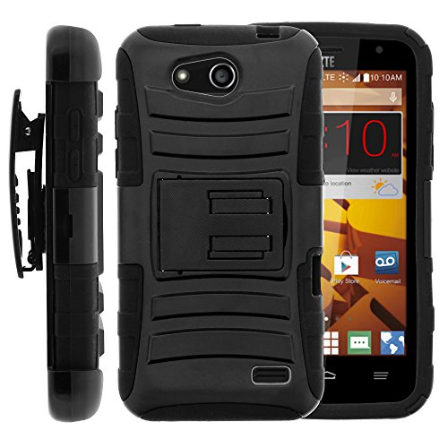 ZTE Maven Case, ZTE Maven Holster, Two Layer Hybrid Armor Hard Cover with Built in Kickstand and Unique Graphic Images for ZTE Maven Z812, ZTE Overture 2 Z813, Z810, ZTE Fanfare Z791, Z792 (AT&T, Cricket) from MINITURTLE | Includes Screen Protector - Black