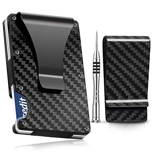 Carbon Fiber Wallet, TININ Minimalist RFID Blocking Slim Wallet with Money Clip, Front Pocket Wallets for Men, Aluminum Metal Wallet, Credit Card Holder