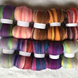 Maslin 10colors Australia Sheep 100% Wool Fiber Needle Felting Wool for Felt Wool roving 10g/20g/50g/100g/color - (Color: Total 500g)