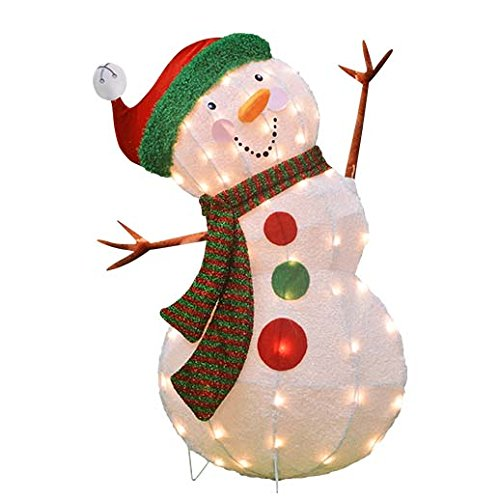 ProductWorks 32-Inch Pre-Lit 3D Victoria Hutto Snowman Christmas Yard Decoration, 50 Lights by ProductWorks