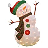 Product Works 32-Inch Pre-Lit 3D Victoria Hutto Snowman Christmas Yard Decoration, 50 Lights