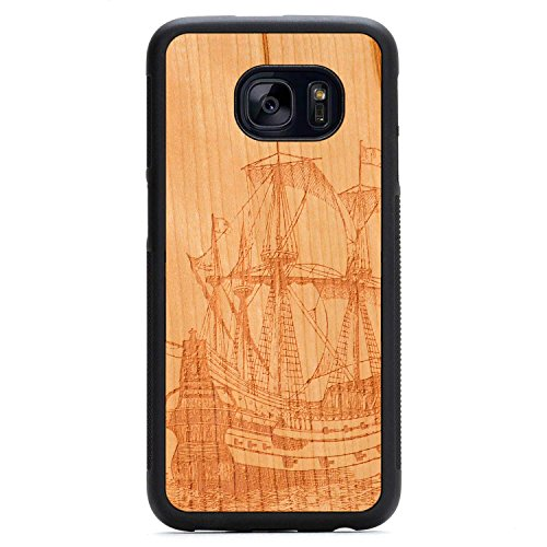 Wood Traveler Case (Carved Galleon Engraved Cherry Samsung Galaxy S7 edge Traveler Wood Case - Black Protective Bumper with Real All Wooden)