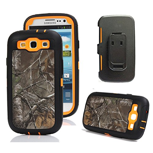 Galaxy S3 Case, Harsel Defender Series Heavy Duty Camo Tough Rugged Armor Hybrid Protective Military with Belt Clip Built-in Screen Protector Case Cover for Galaxy S3 (Xtra/Orange) (Samsung S3 Otter Box Phone Cases)