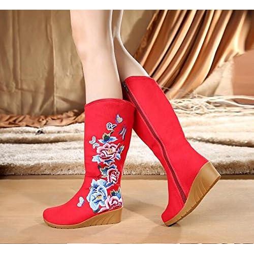 KHSKX-Broderie Style Folklorique Pivoine Souliers Bottes Pente Unique Avec Des Bottes De Toile Chaussures