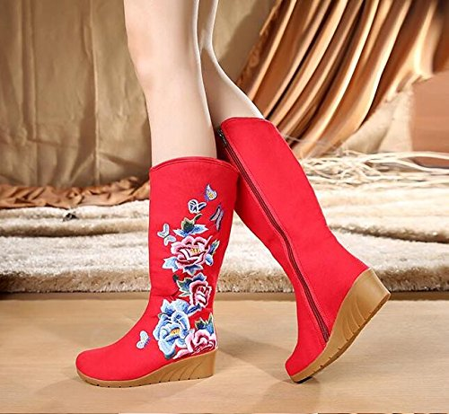 KHSKX-Peony Embroidery Folk Style Shoes Boots Boots Single Slope With High Canvas Boots Shoes gules vFy0Vo4P