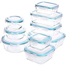 Glass Food Storage Container Set - 18 Pieces (9 containers+9 lids) Transparent Lids - BPA Free - For Home Kitchen or Restaurant - by Utopia Kitchen