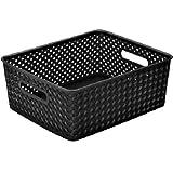 """Resin Wicker Storage Tote, Medium 14"""" x 11.5"""" x 5.15"""", Basket Weave (1, Black)"""