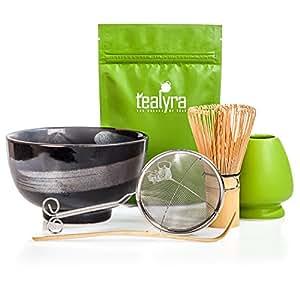 Tealyra - Matcha Tea Ceremony Start Up Kit - Complete Matcha Green Tea Gift Set - Premium Matcha Powder - Japanese Made Black Bowl - Bamboo Whisk and Scoop - Holder - Sifter - Gift Box