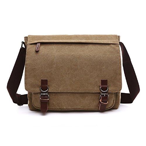 Classic Messenger Bag Vintage Canvas Shoulder Bag for All-Purpose Use Large Capacity (Large, Khaki)