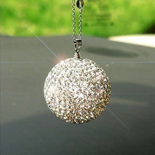 Ylyycc Crystal Ball Car Pendant Top Grade Crystal Lucky Ball for Auto Rearview Mirror Ornament/key Chain/handbag Decorations White Color (Mirror Ball Keychain)