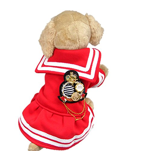 NACOCO Pet Clothes Teddy Dog Costume for Autumn/Winter, Royal Navy Decoration for Lovers, Dog Apparel Personality (Female, M)