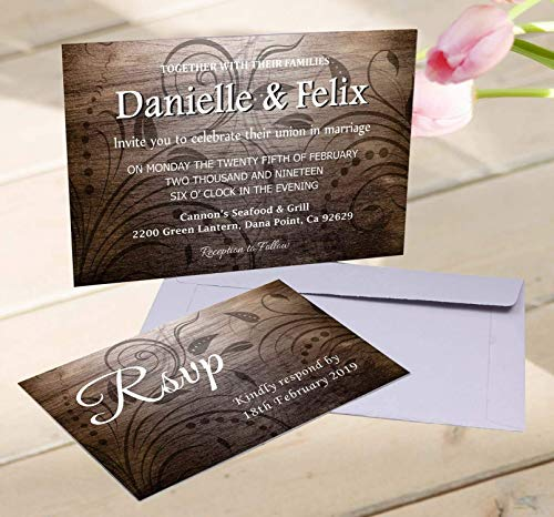 - Rustic Color Wedding Invitation with Envelopes & RSVP Self Mailing Cards/Country Bohemian/Burlap, Wood, Kraft/Southern Invitation/Engagement, Birthday, Baby Shower, Anniversary/Customized Invitation