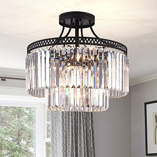 (Flush Mount Crystal Lighting Fixture- 7 Lights Luxury Modern/Contemporary Crystal Prism Chandelier with 2 Tiers Ceiling Light Pendant Light for Dining Room, Living Room)