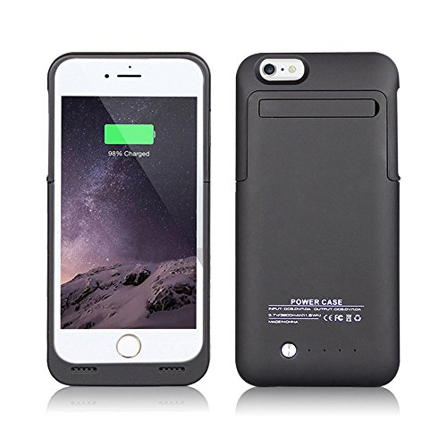 Arc IPhone 6; 6S External Battery Backup Case Charger Power Bank 3500mAh Stand Black