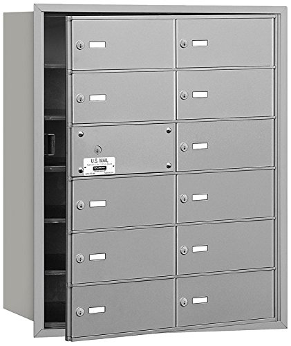 Salsbury Industries 3612AFU 4B Plus Horizontal Mailbox, 12 B Doors 11 Usable, Front Loading, USPS Access, (12 Door Aluminum Mailbox)