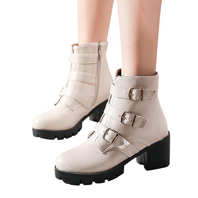 Berimaterry Zapatos de Tacón Alto Botas Mujer Invierno Martain ...