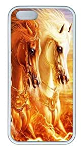 3D Horse PC Silicone Hard Case For Iphone 5/5S Cover Case CovWhite